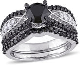 MODERN BRIDE Midnight Black Diamond 2 CT. T.W. Color-Enhanced Black & White Diamond 10K White Gold Bridal Set