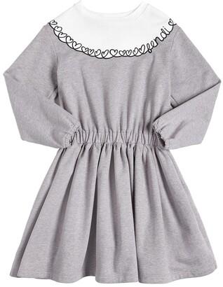 Fendi Hearts Embroidered Sweatshirt Dress