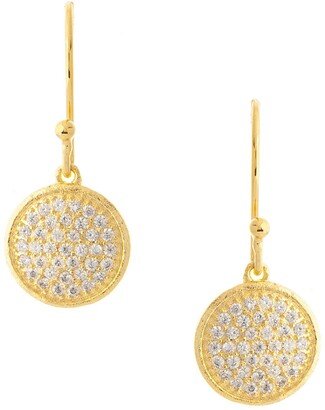 Rivka Friedman 18K Gold Plated Pave CZ Disc Hook Earrings