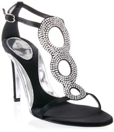 Azzaro Satin T-bar sandals with strass rings