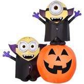 "Outdoor Inflatable Minions 72-Inch Plastic ""Gone Batty"" Halloween Scene with Pumpkin"