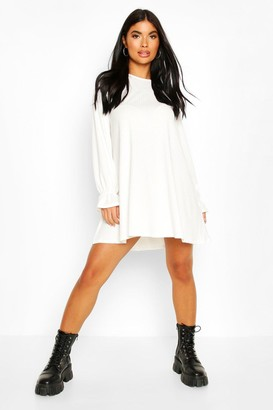 boohoo Petite Soft Rib Swing Dress