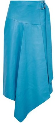 Tibi Asymmetric Buckle-detailed Leather Midi Skirt