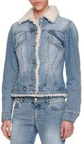 Alexander McQueen Shearling-Lined Denim Jacket, Blue