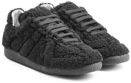 Maison Margiela Leather and Shearling Sneakers