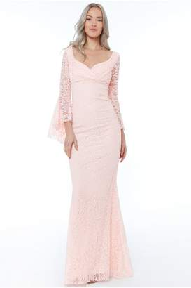 Goddiva Blush Frill Sleeve Maxi Dress