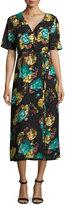 Lucca Couture Midi Floral-Print Wrap Dress, Black