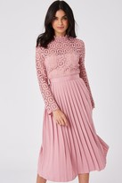 Little Mistress Alice Pink Crochet Top Midaxi Dress With Pleated Skirt