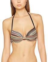 Fat Face Women's Textured Stripe Plunge Bikini Top,6