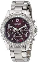 August Steiner Women's AS8136SSPU Silver Multifunction Quartz Watch with Burgundy Dial and Silver Bracelet