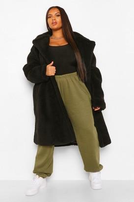boohoo Plus Teddy Faux Fur Pocket Detail Maxi Coat