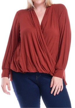Fever Plus Size Surplice Wrap-Front Top