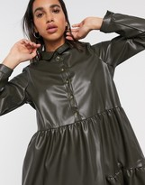 Vero Moda leather look smock dress with tiered skirt in khaki