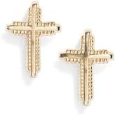 Girl's Kardee Jewelry Cross 14K Gold Earrings