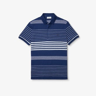 Lacoste Men's Striped Linen And Cotton Regular Fit Polo Shirt