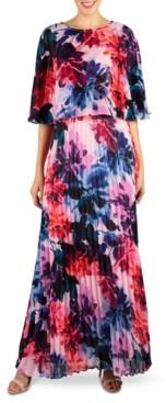 Donna Ricco Pleated Maxi Dress & Popover Shrug