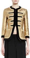 Givenchy 3/4-Sleeve Metallic Military Jacket, Gold/Black