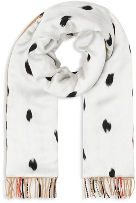 Burberry Check Cashmere & Dalmatian Print Puffer Scarf