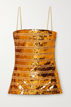 Galvan Stargaze Strapless Striped Sequined Tulle Top - Saffron