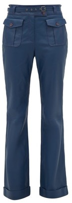 Sies Marjan Nola High-rise Leather Trousers - Womens - Navy