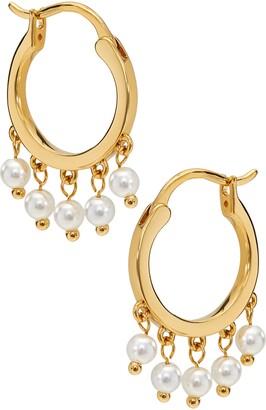 AJOA Shaker Imitation Pearl Huggie Hoop Earrings