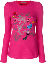 Ermanno Scervino dragon embroidered crew neck top - women - Silk/Cashmere/Wool - 40