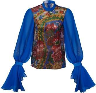 Preciosa Crystal Net Top With Blue Sleeves