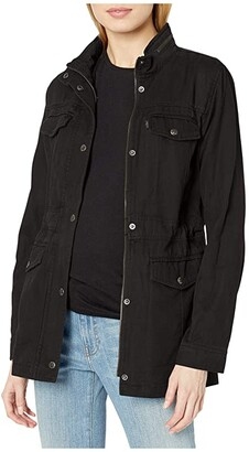 Levi's Cotton Four-Pocket Hooded Military (Black) Women's Clothing