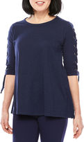 Sag Harbor 3/4 Sleeve Scoop Neck T-Shirt-Womens