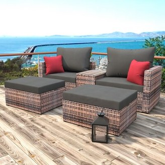 Latitude Run Sectional 5 Piece Rattan Seating Group with Cushions