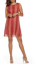 M.S.S.P. Striped Lace Shift Sleeveless Dress