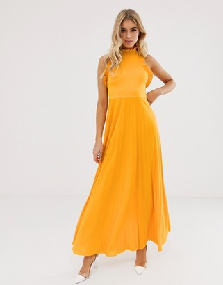 Asos Design DESIGN high neck pleated maxi dress with ruffle detail-Yellow