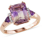 Concerto 0.04 TCW Diamond, 0.20 TCW Emetine and 0.20 TCW Amethyst Sterling Silver Ring