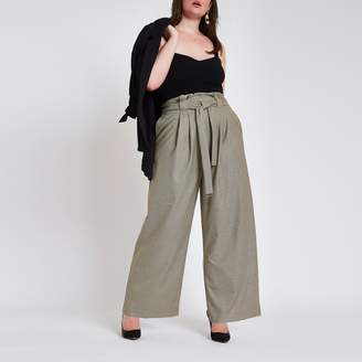 River Island Womens Plus Grey check paperbag wide leg trousers