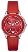 Michele Cape 16 Topaz, Stainless Steel & Silicone Strap Watch/Red