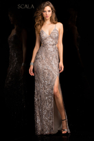 Scala 48679 V-Neck Long Sequin Dress