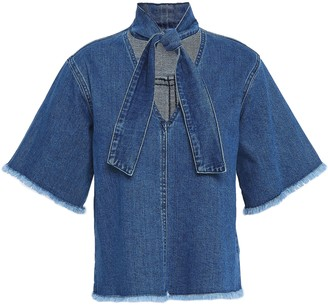 See by Chloe Tie-neck Frayed Denim Top