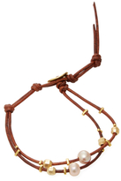 Chan Luu Knotted Leather & Pearl Station Bracelet