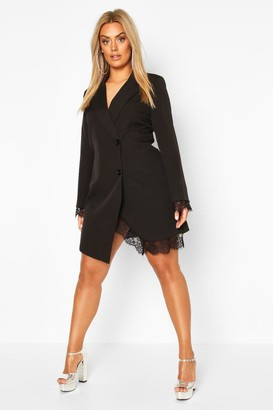 boohoo Plus Lace Insert Blazer Dress