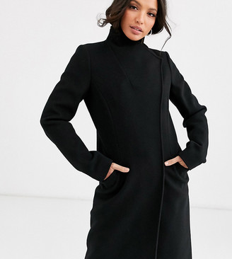Asos Tall DESIGN Tall smart coat with wrap front detail in black