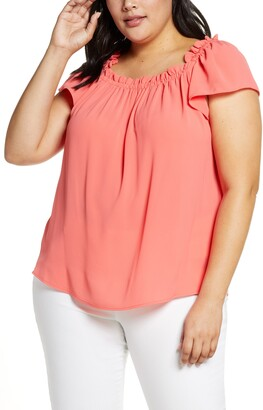 CeCe Ruffle Neck Top