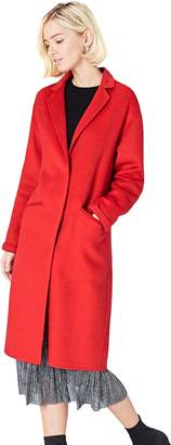 Find. find. Women's Lightweight Coat in a Wool Blend with Drop Shoulder Single Breasted Long Sleeve