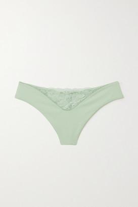 La Perla Good Vibrations Jersey And Stretch-lace Thong - Green