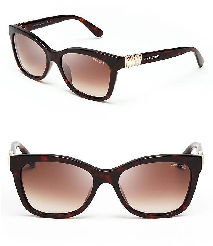 Jimmy Choo Mimi Crystal Temple Wayfarer Sunglasses