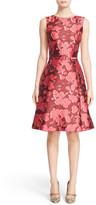 Oscar de la Renta Floral Print Silk Blend Mikado Fit & Flare Dress