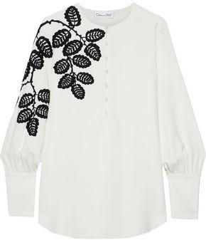 Oscar de la Renta Embroidered Stretch-silk Crepe Blouse