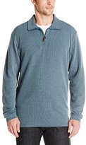 Haggar Men's Knit Flat Back Rib Quarter Zip Sweater