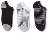 Merona Women's Low-Cut Socks 3-Pack Double Stripe Gray/Black One Size