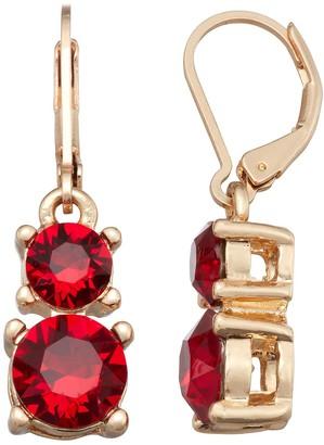 Dana Buchman Gold Tone Double Drop Earrings with Swarovski Crystals