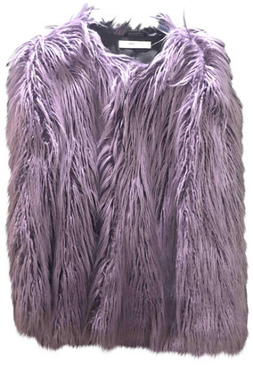 MANGO Purple Faux fur Coats